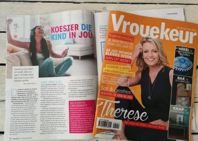 Vrouekeur magazine. February 2018. How to keep your inner child alive.